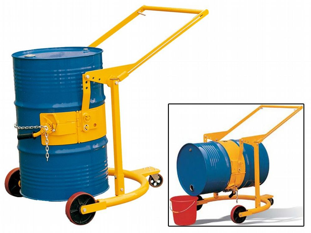Drum Carrier Tilter 365kg Steel Handling Mover Trolley